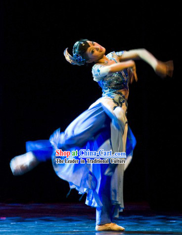 Chinese Classical Dance Costumes and Headdress Complete Set for Women
