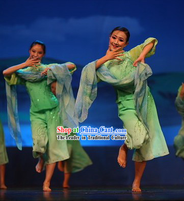 Asian Village Green Dance Costumes