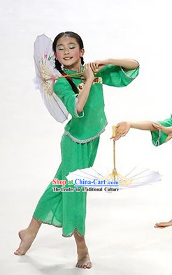Green Umbrella Dance Costumes for Kids