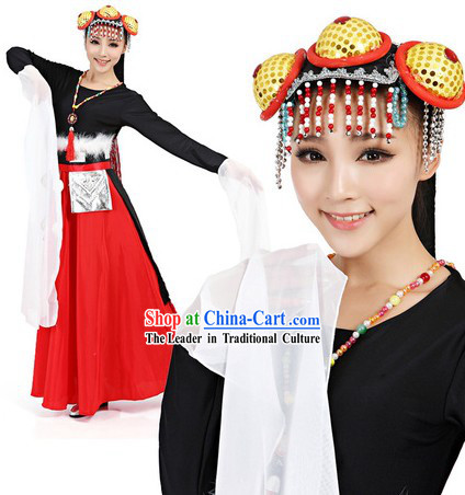Black Tibetan Costumes and Headwear Complete Set for Women