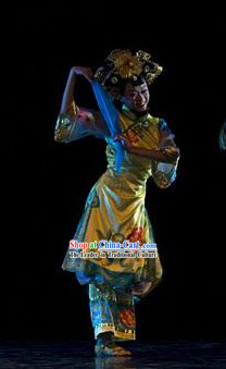 Chinese Imperial Palace Princess Dance Costumes and Headwear Complete Set