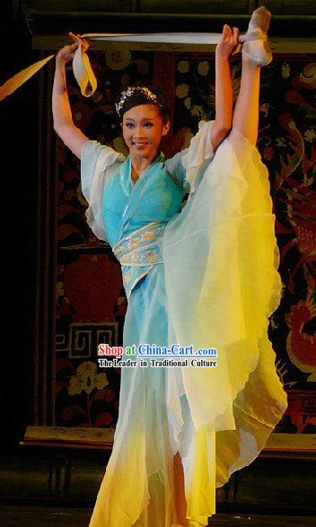 Chinese Classical Dance Costumes and Headwear Complete Set