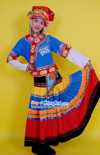 Traditional Chinese Yi Ethnic Dance Costume and Hat Complete Set for Women