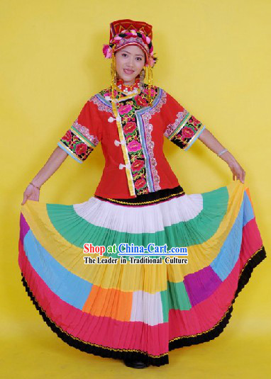 Traditional Chinese Yi People Dance Costume and Hat Complete Set for Women