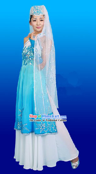 China Hui Ethnic Clothing and Hat Complete Set for Women
