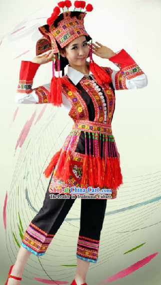 China Huayao Dai Ethnic Clothing and Hat Complete Set for Women