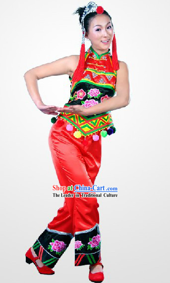 China Ethnic Clothes and Hat Complete Set for Women
