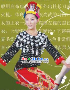 China Jingpo Clothing and Hat Complete Set for Women