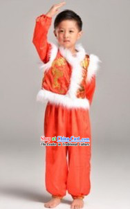 Red New Year Stage Performance Dance Costume for Boys