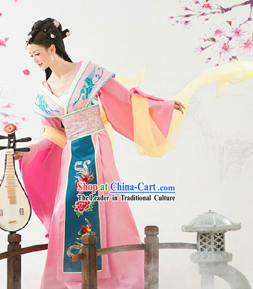 Ancient Chinese Pink Phoenix Clothing and Headwear Complete Set