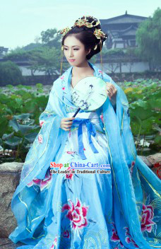 Blue Ancient Princess Dance Costumes and Headwear Complete Set