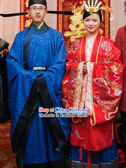 Chinese Traditional Wedding Hanfu Clothes and Headwear Complete Sets for Men and Women