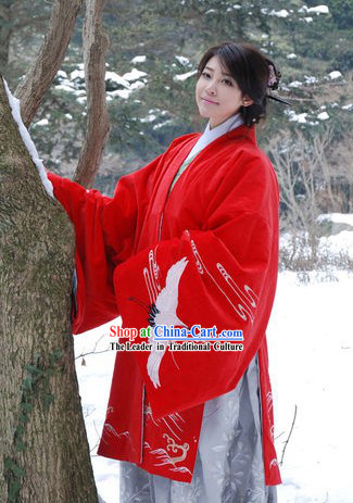 Chinese Traditional Wedding Hanfu Clothing with Crane Embroidery