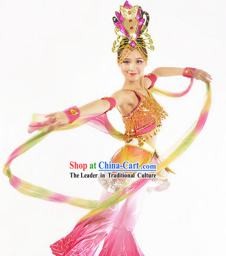 Traditional Chinese Classical Fei Tian Flying Angel Dance Costumes and Headdress for Women