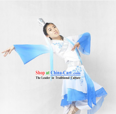 Blue and White Chinese Classical Dance Costumes and Headdress for Women