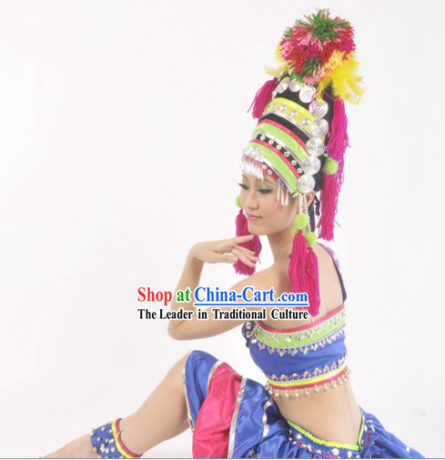 Chinese National Hani Clothing and Headdress for Women