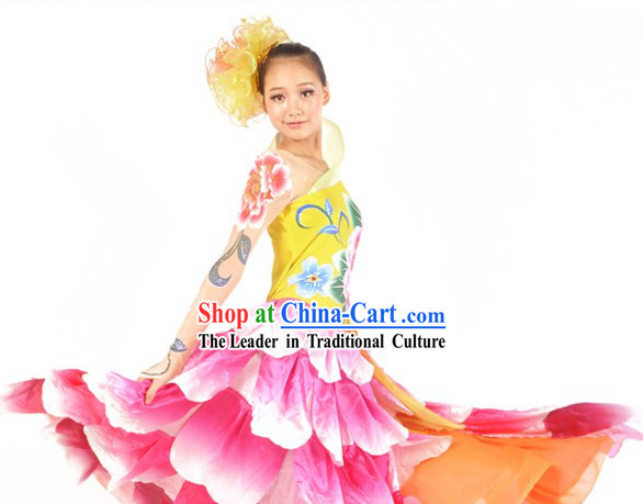 Chinese Classical Peony Dance Costumes and Headdress Complete Set for Women