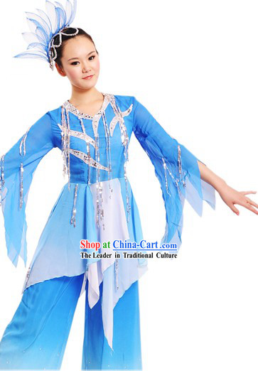 Traditional Chinese Dance Costumes and Headdress for Women