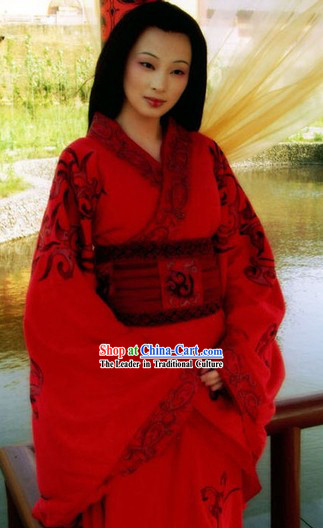 Ancient Chinese Han Dynasty Queen Clothing and Wig Complete Set