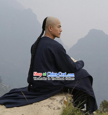 Chinese Traditional Black Long Robe for Men