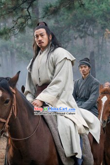 Qin Dynsaty Period Chinese Costume Chu Han Legend Ancient Chinese Xiang Yu Clothing for Men