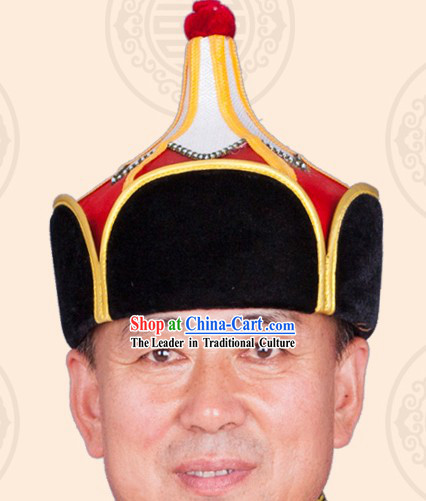 Handmade Traditional Mongolian Chieftain Hat for Men