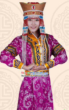 Traditional Chinese Ethnic Mongolian Long Suit for Women