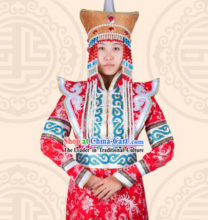 Traditional Chinese Ethnic Mongolian Long Attire Complete Set for Women