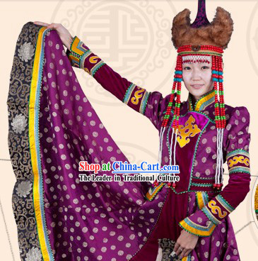 Traditional Chinese Mongolian Empress Clothing and Hat Complete Set for Women