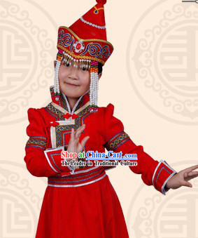Mongolian Princess Clothing and Headwear for Children