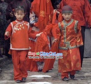 Traditional Chinese Wedding The flower Girl and Boy Clothing Two Sets