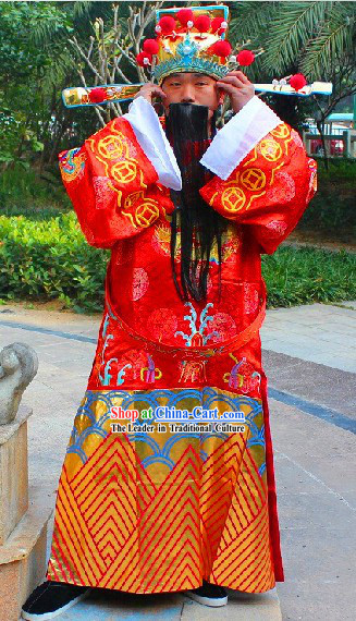 Traditional Chinese Red Cai Shen Ye Clothing and Hat Complete Set