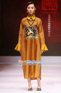 Golden Chinese Official Costume Style Dress