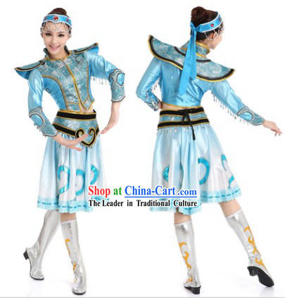 Blue Chinese Mongolian Dance Uniform for Women