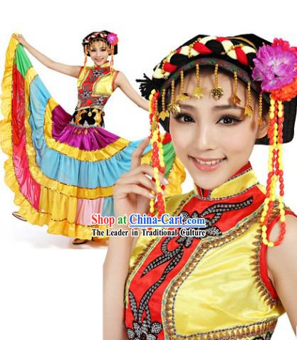 Traditional Yi Dance Costumes and Headdress for Women