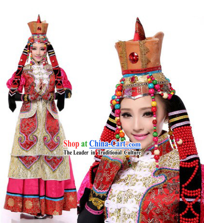 Traditional Mongolian Clothes and Hat for Women