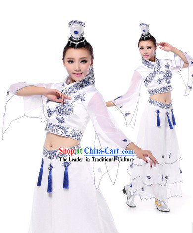 Professional Chinese Classic Ceramics Dance Costumes and Headwear Complete Set for Women