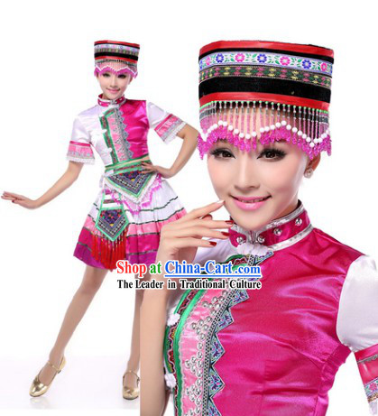 Professional Chinese Classic Miao Clothing and Headwear Complete Set for Women