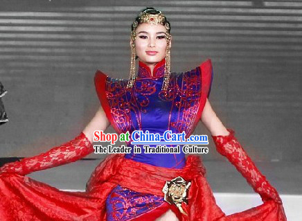 Traditional Mongolian Noblewoman Clothes and Hat Complete Set
