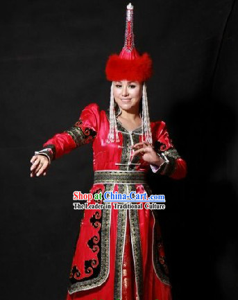 Traditional Mongolian Noblewoman Attire and Hat Complete Set