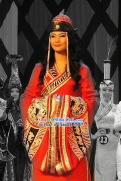 Chinese Traditional Ethnic Mongolian Suit and Hat for Women