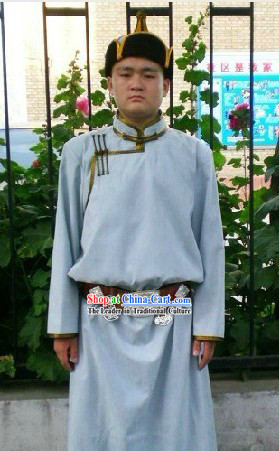 Traditional Mongolian Daily Clothing and Hat Complete Set for Men