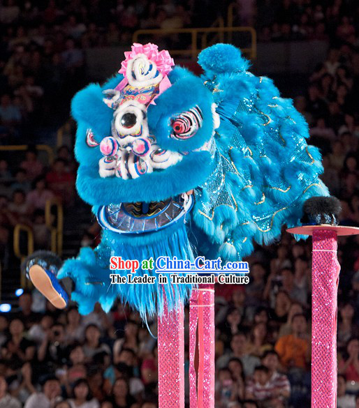 Blue Supreme Competition and Celebration Hoksan Lion Dance Costumes Complete Set