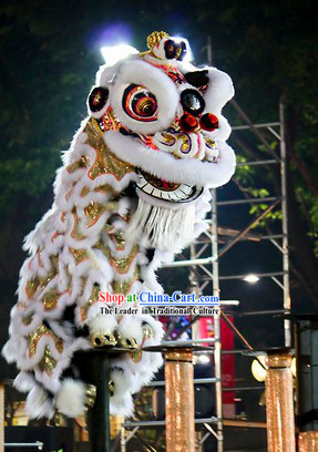 Supreme White Fur Opening and Celebration Lion Dance Costume Complete Set
