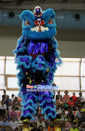 Blue Competition and Parade Adults Lion Dance Costume for Sale