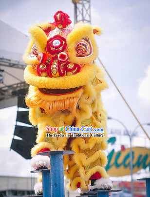 Gold and Red Hok San Supreme Opening and Festival Celebration Lion Dance Costumes Complete Set