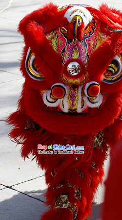 Southern Hoksan Adult Size Red Fur Lion Dance Head and Costume Complete Set