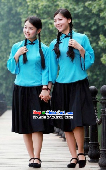 Chinese Minguo Student Stage Performance Costumes for Women
