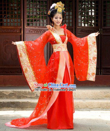 Ancient Chinese Red Empress Costumes and Hair Accessories for Women