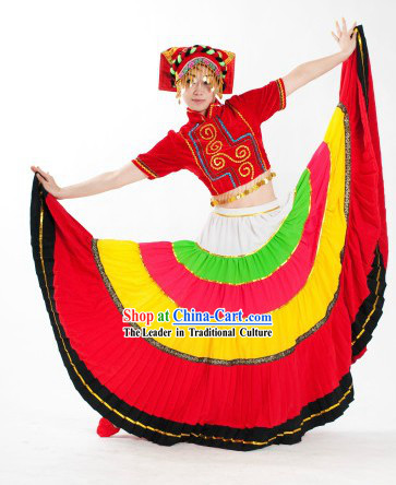 Chinese Folk Yi Minority Ethnic Dance Costumes and Hat for Women